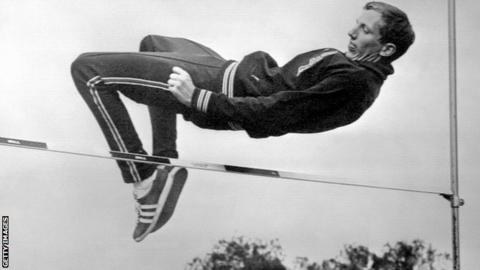 Dick Fosbury demonstrates the Fosbury Flop