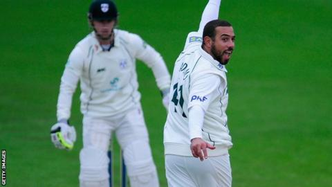 Andre Adams takes a wicket for Notts