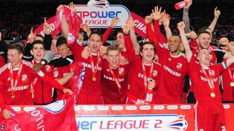 Swindon Town celebrate their League two title