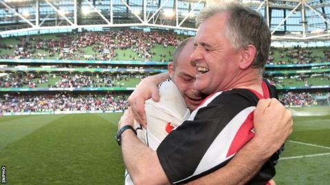 Rory Best and Brian McLaughlin embrace after Ulster's semi-final victory