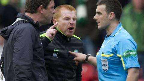 Neil Lennon (centre) aims his wrath at Euan Norris at the end of the Scottish Cup semi-final