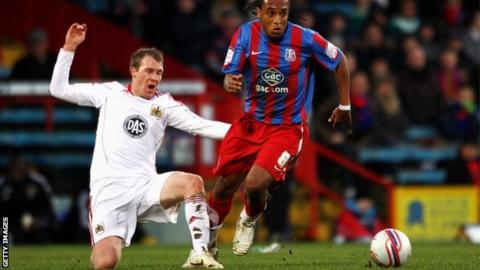 Clarkson (left) in action for Bristol City against Crystal Palace