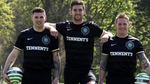 Gary Hooper, Charlie Mulgrew and Kris Commons show off the new Celtic away kit