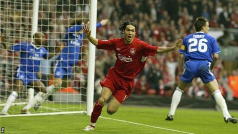 Luis Garcia scores against Chelsea