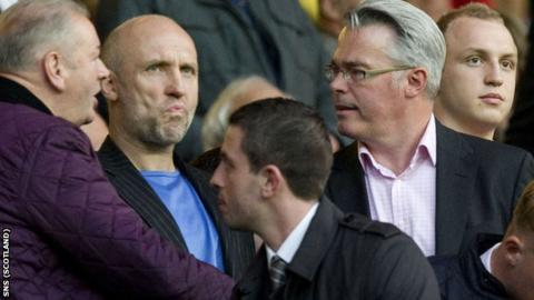 Kennedy (centre) and Murray watched Rangers defeat United