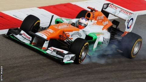 Paul di Resta's Force India at the Bahrain Grand Prix
