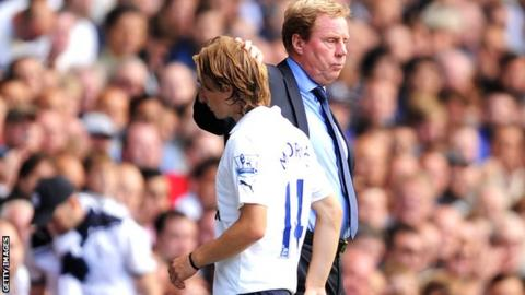 Luka Modric with Spurs boss Harry Redknapp