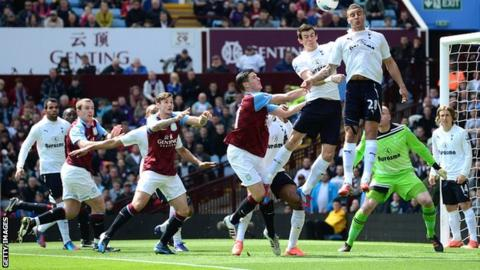 Spurs clear their lines at Villa Park