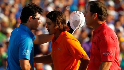 Rory McIlroy and DA Points congratulate Rickie Fowler on his first PGA Tour win