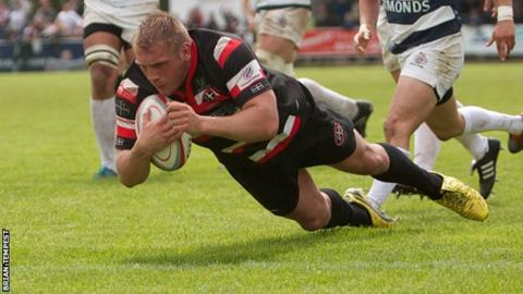 Carl Rimmer scoring one of his two tries against Bristol