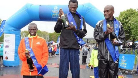 2012 Belfast Marathon winner Urga Negewo with runners-up David Kipserem Kisang and Jacob Chesire