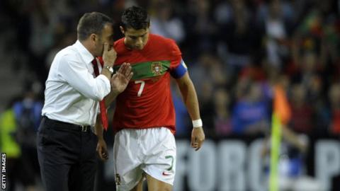 Portugal coach Paulo Bento (left) with Cristiano Ronaldo