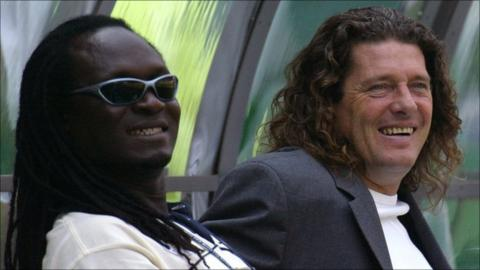Former Senegal striker Jules Bocande (left - pictured alongside Bruno Metsu)