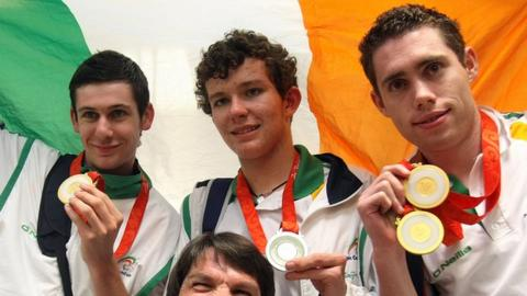 Michael McKillop (left) and Jason Smyth (right) with fellow Irish medallist Darragh McDonald after the Beijing Paralympics