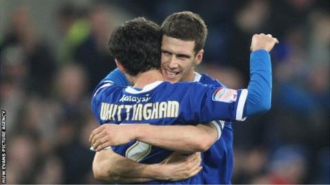 Cardiff players Peter Whittingham and Mark Hudson