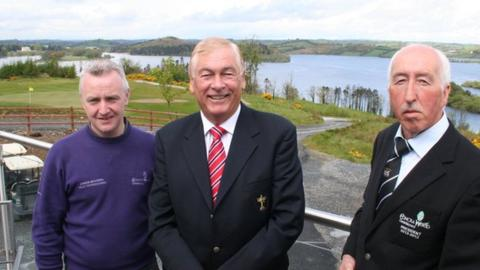 Christy O'Connor Jnr (centre) at the launch of Concra Wood's PGA Europro event with the club's professional Conor McKenna and club president Andy Whelan