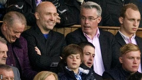 Brian Kennedy and Paul Murray in the stand at Ibrox