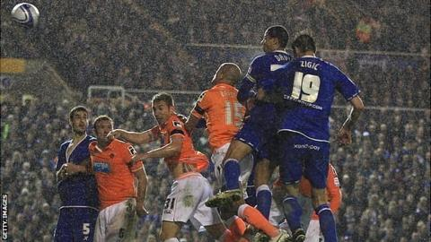 Curtis Davies scores Blues' equaliser against Blackpool