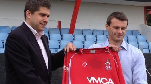 Redditch chairman Chris Swan and new manager Simon Redhead