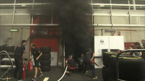 Mechanics fight fire in the Williams garage