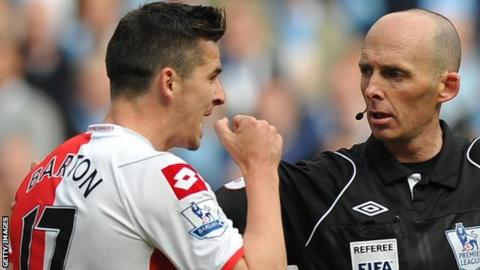 QPR midfielder Joey Barton is sent off