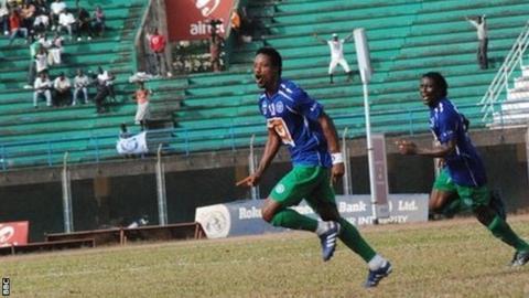 Mohamed Kallon celebrates scoring for FC Kallon