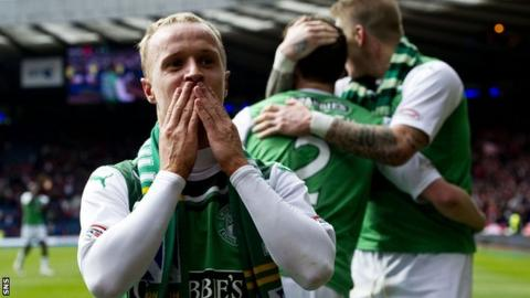 Leigh Griffiths scored the goal that took Hibernian to the Scottish Cup final