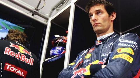 Mark Webber in the Red Bull garage
