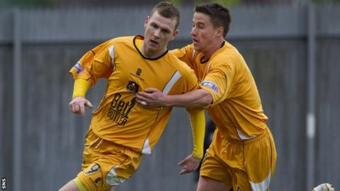 Prunty (left) put Dumbarton into the lead at Strathclyde Homes Stadium