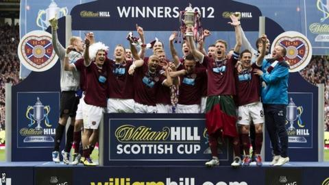 Hearts players celebrating with the Scottish Cup