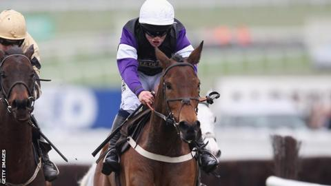 Brindisi Breeze, ridden by Campbell Gillies, on his way to victory in the Albert Bartlett Novices' hurdle