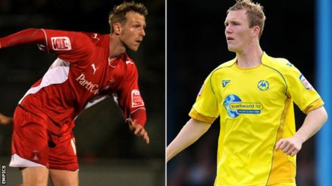 Ryan Jarvis (left) and Mark Ellis have been offered deals to stay at Plainmoor