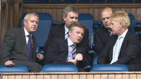 David Grier (left) at Ibrox with Craig Whyte (centre) and fellow Rangers directors