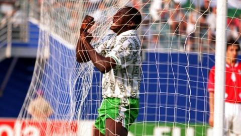 Rashidi Yekini celebrates scoring Nigeria's first ever World Cup goal, as the 1994 finals in the United States