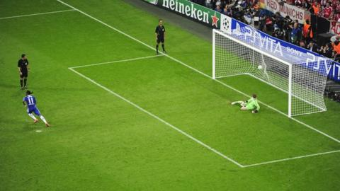 Didier Drogba scores the penalty that won the European Champions League for Chelsea