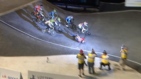 British Olympic hopeful Liam Phillips tumbles over his handlebars