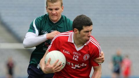 Sean Cavanagh battles with Kildare's Peter Kelly in the recent Football League Division 2 final