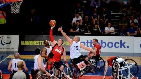 Great Britain's Simon Munn shoots during day three of the BT Paralympic World Cup