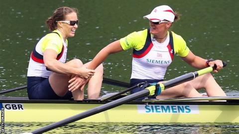 Helen Glover and Heather Stanning celebrate gold in Lucerne
