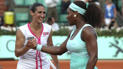 Virginie Razzano and Serena Williams
