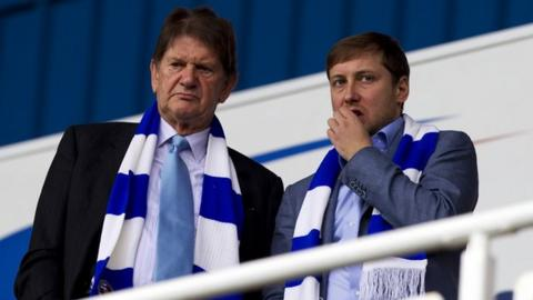 Sir John Madejski (left) and new Reading FC owner Anton Zingarevich