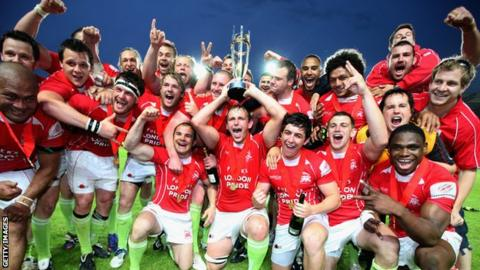 London Welsh celebrate winning the Championship