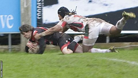 Rhodri McAtee's last try for the Pirates was against Plymouth Albion in December