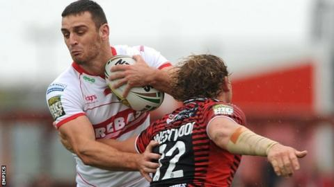 Craig Hall is stopped by Ben Westwood
