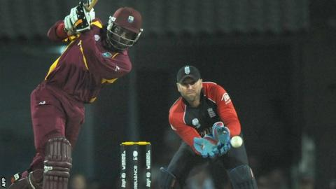 Chris Gayle in action for West Indies against England at the 2011 World Cup