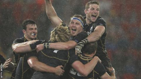 Scotland celebrate their win in Australia