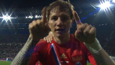 Roman Pavlyuchenko celebrates Russia's fourth