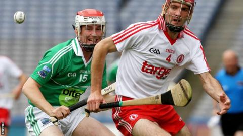 Fermanagh's Paul McGoldrick battles with Tyrone's Ryan Winters in the Lory Meagher Cup final