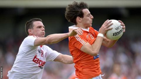 Tyrone's Aidan McCrory challenges Jamie Clarke