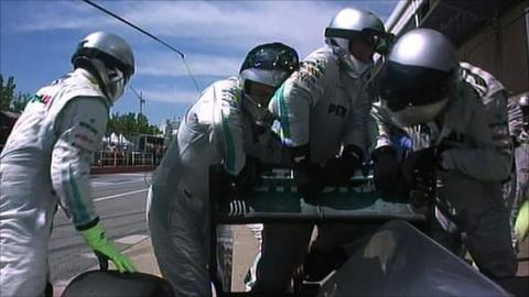 Mercedes mechanics struggle to fix broken DRS